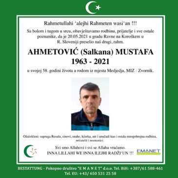 AHMETOVIĆ (Salkana) MUSTAVA (1963-2021)